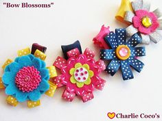 "Flower Hair Bows for Girls Toddler Baby ""Fall Flowers"" by Charlie Coco's."
