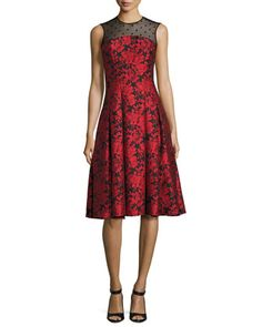 Sleeveless Floral Jacquard Fit-and-Flare Dress, Red by Carmen Marc Valvo at Neiman Marcus.