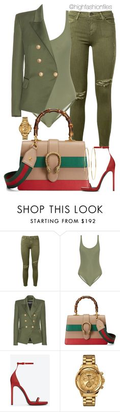 """Kadet"" by highfashionfiles ❤ liked on Polyvore featuring Current/Elliott, Solid & Striped, Balmain, Gucci, Yves Saint Laurent, Versus and Jennifer Meyer Jewelry"