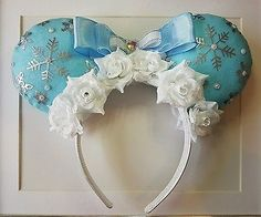 Custom Handmade Disney Frozen Elsa Inspired Mickey Minnie Ears Headband