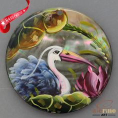 HAND PAINTED TOUCAN BIRD NATURAL MOTHER OF PEARL SHELL PENDANT ZL30 06082 #ZL #PENDANT