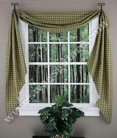 Sturbridge Fishtail Lined Swags dresses up windows and adds just the right accent to complete a room's atmosphere and décor, and doing so is easy and affordable with these Fishtail Swags.   #Kitchen #Curtains