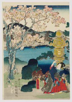 Cherry Blossoms at Genji's Rokujô Mansion (Genji Rokujô no hana)  「源氏六条乃花」 Japanese Edo period 1854 (Kaei 7/Ansei 1), 12th month Artist Utagawa Kunisada I (Toyokuni III) (Japanese, 1786–1864), Other artist Utagawa Kuniteru II (Kunitsuna II) (Japanese, 1830–1874)
