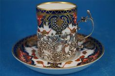 Royal Crown Derby Imari Coffee Can with a HM Silver Holder Chester (1903)   Crown Derby cup with a solid silver cup holder dating to the Art Nouveau era   Sale Price eBay: £82.50