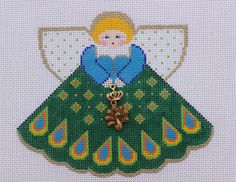 Painted Pony Designs Peacock Angel 996HJ Hand Painted Needlepoint Canvas