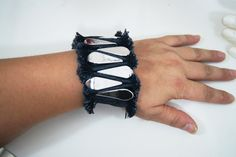 Unique Ruff Edged Denim Blue Jean Bracelet, Denim Bracelet Cuff ,Blue Jean Cuff Bracelet, ... $15.99