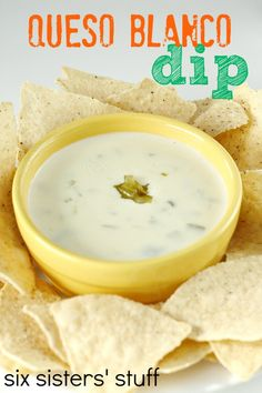Queso Blanco Dip (White Cheese Dip) from SixSistersStuff.com- tastes identical to something from a restaurant! #dip #appetizer #sixsistersstuff