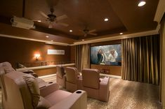 Fantastic Home Theater Design With Curtains On Every Wall Brown Seats And Curtain