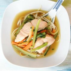 Delicious ramen noodle soup with marinated salmon.