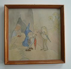 7 handpainted gnome pictures ~1930. The pictures are part of a calender. At the backside is little text, written with an old typwriter. FOR SALE on ebay or on homegnome.de