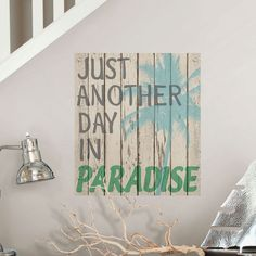 Gracie Oaks Create a paradise oasis in your home with this faux wood wall decal. The design has a hand painted look with a beach color palette and subtle distressing. Featuring the saying, just another day in paradise. Vinyl Wall Quotes, Quote Wall, Hawaii Quotes, Paradise Quotes, Summer Captions, Beach Captions, Selfie Captions, Sea Quotes, Nice Quotes