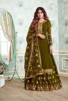 Mehendi Green Designer Sharara Suit Sharara Suit, Patiala, Salwar Suits, Salwar Kameez, Kurti, Punjabi Suits, Indian Suits, Pakistani Suits, Latest Designer Sarees