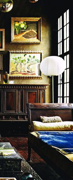 traditional with a touch of modern  - dirty colors + textures + dark woods
