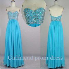 Sweetheart blue chiffon handmade floor-length beaded prom dress, graduation dress, bridesmaid dress with sequins