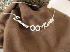 1 Namenskette mit 2 Wunschnamen & 1 Unendlich-Symbol in 925er Silber, 44 cm