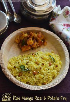 Travel Food Lunch Idea9 - Raw Mango Rice, Potato Fry