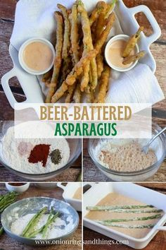Beer-Battered Asparagus with a golden and crisp beer batter. Crunchy and delicious with a campfire dipping sauce, this appetizer is a sure party hit! #sidedish #asparagus #partyfood #vegetable Easy Vegetable Recipes, Vegetable Side Dishes, Side Dish Recipes, Easy Appetizer Recipes, Best Appetizers, Party Appetizers, Party Recipes, Party Snacks, Salad Recipes
