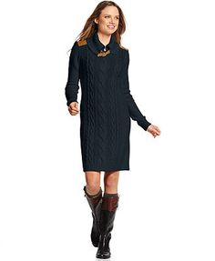 Tommy Hilfiger Dress, Long-Sleeve Cable-Knit Sweater