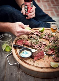 BBQ Pink Peppercorn Chateaubriand with Mint, Habanero Chili, Lime and Parsley Gremolata