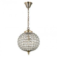 Endon Lighting Tanaro Single Light Ceiling Pendant In Antique Brass Finish With Clear Glass Bead Detail - Endon Lighting from Castlegate Lights UK