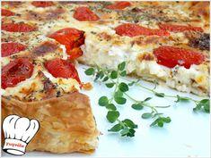 Γρήγορη τάρτα τυριών με σφολιάτα! Τέλεια ιδέα για μπουφέ Cookbook Recipes, Cooking Recipes, Pepperoni, Quiche, Pizza, Bread, Cheese, Breakfast, Food