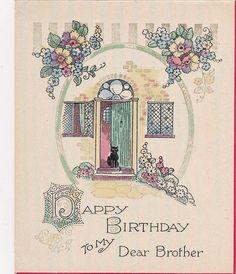 Beautiful Vintage Art Deco Birthday Card - Black Cat At Door - Flowers