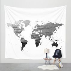 World Map - Ocean Texture - Black and White Wall Tapestry by mariannamills Tapestry Bedroom, Tapestry Curtains, Wall Tapestries, Beach Hut Decor, Black And White Wall Tapestry, Ocean Texture, Bedroom Colors, Bedroom Ideas, Decoration Crafts