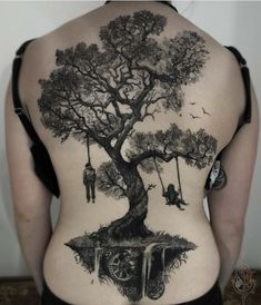 50 Gorgeous and Meaningful Tree Tattoos Inspired by Nature's Path - jaw-dropping tree tattoo © tattoo artist Myskow Slawomir 💓💓💓💓💓 - Badass Tattoos, Leg Tattoos, Small Tattoos, Tattoos For Guys, Sleeve Tattoos, Tattoos For Women, Tree Tattoo Designs, Tattoo Designs For Women, Forrest Tattoo