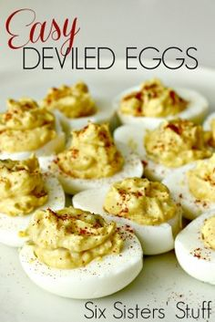 Easy Deviled Eggs Recipe | Six Sisters Stuff. Great recipe! And directions on how to make a great hard boiled egg