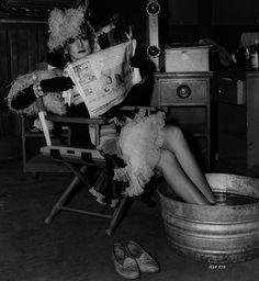 Marlene Dietrich relaxing on set #universalstudios