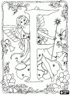 F Alphabet Fairy Coloring Pages. Apple Coloring Pages, Fairy Coloring Pages, Alphabet Coloring Pages, Disney Coloring Pages, Free Coloring Pages, Coloring Books, F Alphabet, Fairy Sketch, Coloring Sheets For Kids