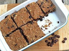 A Reader Recipe: Banana-Carob Protein Bars. Substitute Vegan protein powder? Omit eggs and honey for Vegan.