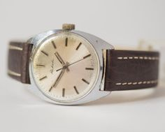 Classic wrist watch for men Rocket shiny silver face by SovietEra, $79.00