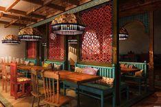 Restaurant Design Concepts, Restaurant Concept, Restaurant Interior Design, Cafe Interior, Cafe Design, Interior Rendering, Hookah Lounge Decor, Moroccan Restaurant, Cafe Bistro
