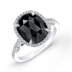2 3/4ct Oval Black Diamond Engagement Ring by Coby Madison