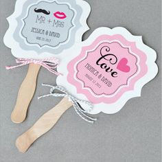 Personalized Wedding Themed Paddle Fans (Event Blossom EB2354TZ) | Buy at Wedding Favors Unlimited (https://www.weddingfavorsunlimited.com/personalized_wedding_themed_paddle_fans.html).