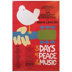 """""""3 Days of Peace and Music"""" Woodstock Concert Poster ($100) ❤ liked on Polyvore featuring home, home decor, wall art, posters, music concert poster, new york poster, airplane poster, jimi hendrix concert poster and hendrix poster"""