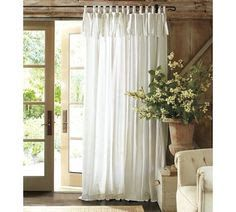 Tied top muslin curtains