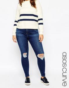 ASOS CURVE Ridley Skinny Jean in Brasswood Dark Wash with Rips