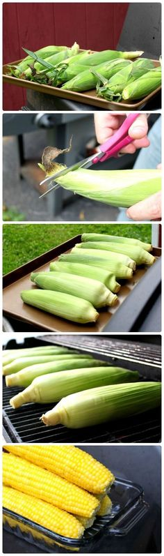 Perfect Grilled Sweet Corn     Preheat the grill to 500 F. Trim the silk off the tops of each ear. Do not shuck the ears. Place the ears on the grill and turn the flames down so they do not touch the ears. Grill for 30 minutes, turning every 10. Remove from the grill and let cool for at least 10 minutes. Be careful, the ears are very hot! Carefully peel back the husk. Spread it with butter and salt.