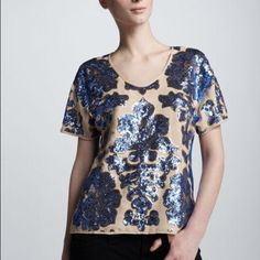 NWT Tracy Reese Sequined Top Royal blue and nude coloring, slightly sheer, sequined detailing on frontside of garment. Size small, runs roomy. NWT never worn. Tops Blouses