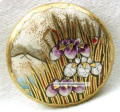 "Antique Meiji Satsuma Button Iris Flowers Mt. Fuji & Lake W/ Gold Accents - 7/8 ""/circa: 1868-1914"