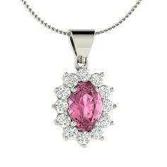 Natural Pink Sapphire & Diamond Necklace in 14K White Gold- 1.36 Ct Free Chain | eBay