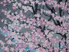 pink cherry blossom tree painting large huge paintngs by SheerJoy