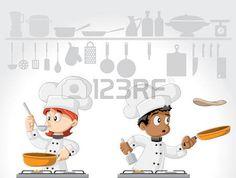Cartoon gourmet chefs cooking food on white kitchen.