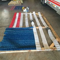 Between training breaks, Recruit Class 29 took it upon themselves to build this flag out of old fire hose. The flag is built to scale and will be displayed in our new classroom.