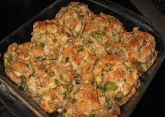 Grandma's Stuffing Balls INGREDIENTS * 2 loaves white bread (day old) * 4 stalks celery, chopped * 1 stick butter * 1 small onion, finely chopped * turkey broth *… Stuffing Balls Recipe, Stuffing Recipes, Turkey Recipes, Stuffing Muffins, Chicken Recipes, Veggie Recipes, Meatball Recipes, Pumpkin Recipes, Pork Recipes