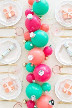 Balloon ornament centerpiece | Oh Happy Day
