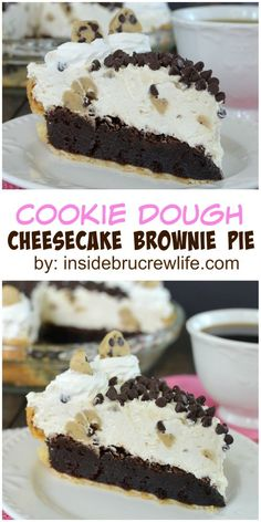 Cookie Dough Cheesecake Brownie Pie - layers of brownie, no bake cheesecake, and cookie dough turn this pie into a decadent dessert