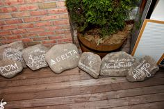 Show your gratitude for your sponsors by painting their names/logos onto large rocks.  They also double as relevant decor for your event!